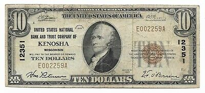 1929 $10 Kenosha 12351 National Currency Fine Rare