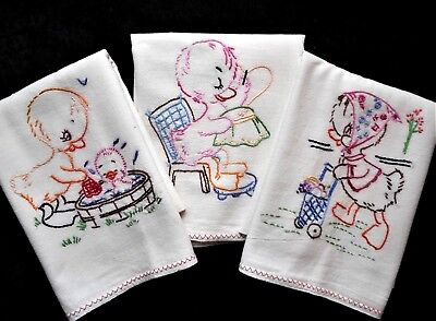 TOO CUTE! Vintage Duck Hand Embroidered Kitchen Hand Bar TEA TOWEL Lot SET of 3