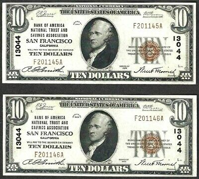 1929 $10 BANK OF AMERICA SAN FRANCISCO, CA NATIONAL CURRENCY Two Consecutive