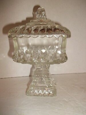Vintage Jeannette Glass Wedding Cake Box Candy Dish Compote & Lid 1950s Estate