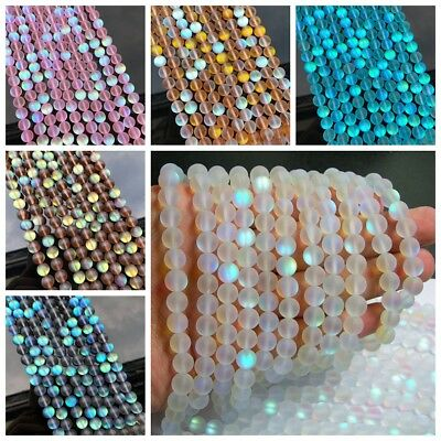 6mm 8mm 10mm Mystic Aura Quartz Gemstone Loose Beads Holographic Quartz Matte
