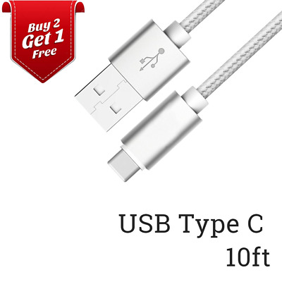 10ft USB-C Type C Cable Fast Charging Cord Data Sync for Samsung Galaxy S8 S9 LG