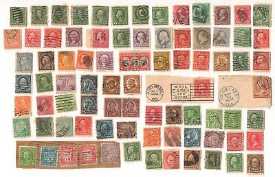 US Mixed Lot of Antique used stamps with some better values