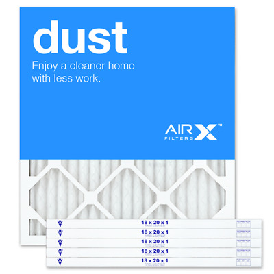 AIRx Filters Dust 18x20x1 Air Filter Replacement Pleated MERV 8, 6-Pk