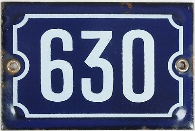 Old blue French house number 630 door gate wall plate plaque enamel metal sign