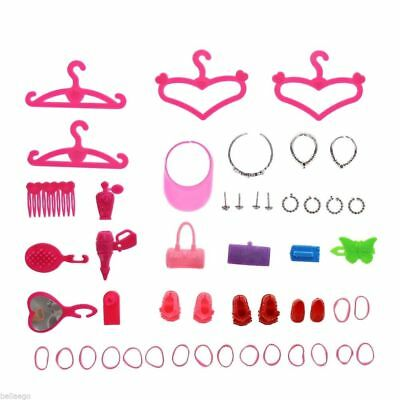 42 Items For Fashion Barbie Dresses,shoes,jewelry Clothes Set Accessories Ju