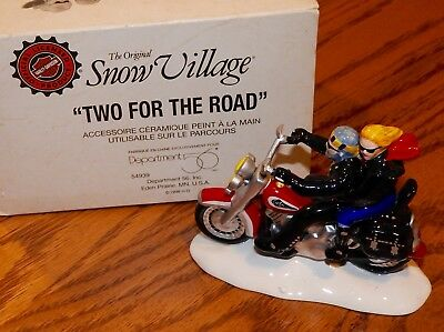 """Dept 56 Snow Village Harley-Davidson""""Two For The Road """" Retired Euc"""