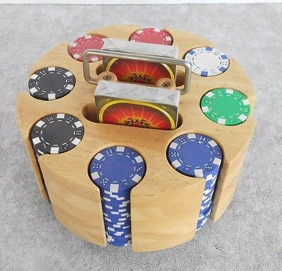 Poker Chip Rotating Wood Rack with 200-11.5 gm Claytec Chips & 2 Decks of Cards