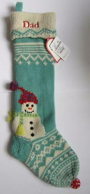 Pottery Barn Kids Merry & Bright Knit Snowman Stocking - Dad Monogram NWT