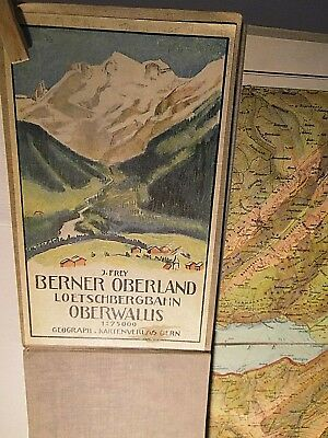 BERNESE OBERLAND-LOTSCHBERGBAHN-JUNGFRAUBAH:1913-30s FINES COLOURED MAP ON LINEn