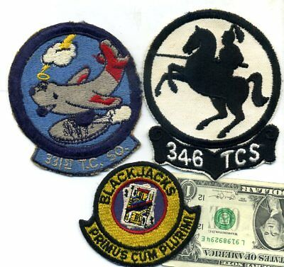 WW2 Vintage 331st, 53d, & 346th TROOP CARRIER SQUADRON NO-Glow! JACKET PATCHES