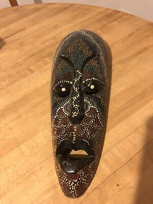 hand carved wooden african tribal mask
