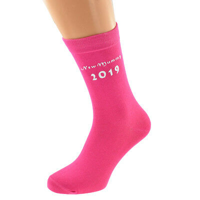 Mummy to Be 2019 with Footprint Printed Design Ladies Hot Pink Socks Present