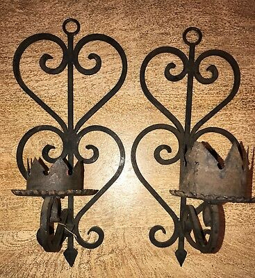 Pair Large Vintage Gothic Medieval Style Black Wrought Iron Candle Wall Sconces