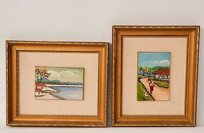 PAIR of Vintage Oil Paintings Central American Original Art Latin Landscape