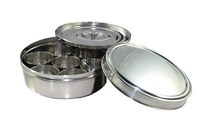 Buckingham Stainless Steel Indian Spice Masala Dabba Storage Box Set with SS Lid