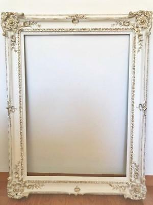 Antique French Hand Carved Baroque Frame or Mirror - White and Gold