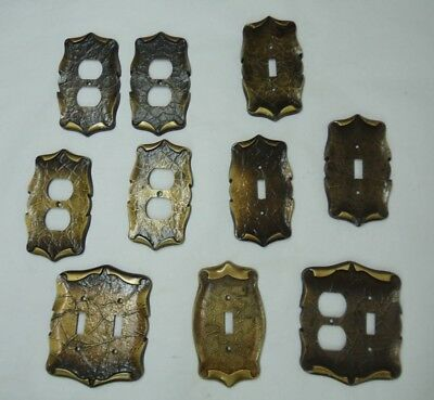 10 Vintage AMEROCK CARRIAGE HOUSE Outlet Cover Plates Antique Brass Plated
