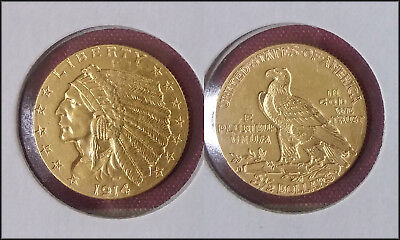 1914-D United States $2-1/2 GOLD Indian Coin - Nice!