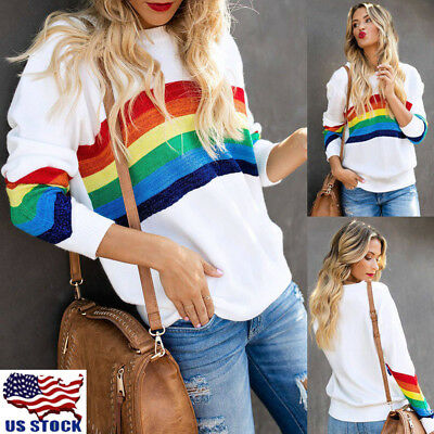 Women Rainbow Printed Long Sleeve Tops Lady Casual T-Shirt Sweatshirt Blouse Lot
