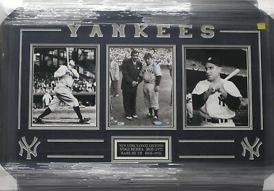 YOGI BERRA NY Yankees Signed 8x10 Photo w/ Babe Ruth Matted & Framed Steiner CoA