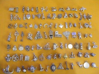 A1 Vintage Sterling Silver Charms Car Owl Violin Chest Harp Church Crown Heart