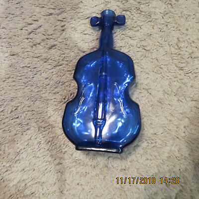 Vintage Cobalt Blue Violin / Fiddle 8 Inch Bottle / Vase