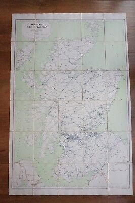 1960 Railway Clearing House RCH Map of Scotland Linen Backed