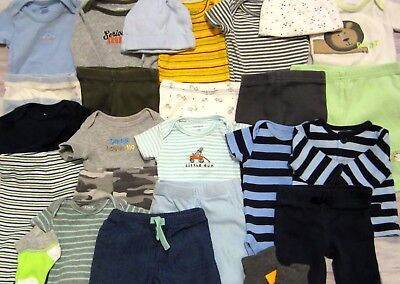 BOY CLOTHES LOT size NEWBORN Mostly Carter's Pants Tops Bodysuits Year Around