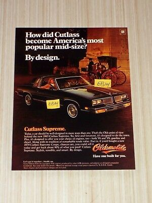 1983 Oldsmobile Cutlass Supreme 5X7 Color Glossy Photo Have One Built Ad