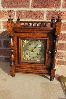 German Oak 8 Day Striking Bracket Clock by Winterhalder & Hofmeier