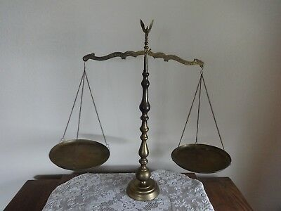 """Vintage Brass Scales Of Justice Scale With Eagle Finial - 22 1/2"""" Tall"""