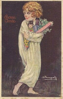 S Bompard  Art Deco Christmas New Year Child With Japanese Doll + Presents