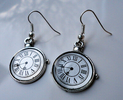 Antique Style EARRINGS Pocket Watch Steampunk Alice Vintage Theme Clock