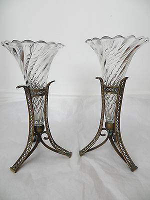 Antique Pair of Vases with Gilt Bronze Holders c 1860s Delicate Very Collectable
