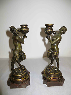 Antique Bronze Pair of Pan Satyr Candle Sticks Decorative Item mid /late 1800's