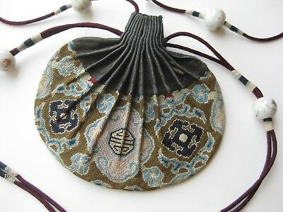 Fine Old Chinese Embroidered Cotton Porcelain Bead Tassel Drawstring Purse
