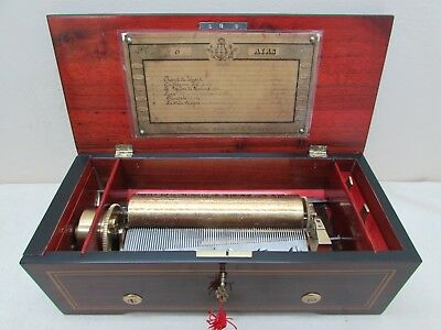 "Exquisite Ducommun Girod Swiss 8"" Cylinder Music Box Marquetry Inlaid 6 Aires"