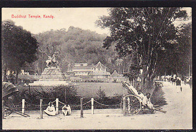 Ceylon Postcard Buddhist Temple Kandy #218
