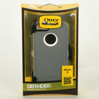 OtterBox Defender Hard Case w/Holster Belt Clip for iPhone 5 White Gray Glacier