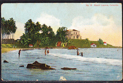 Ceylon Postcard Mount Lavinia Colombo Coloured