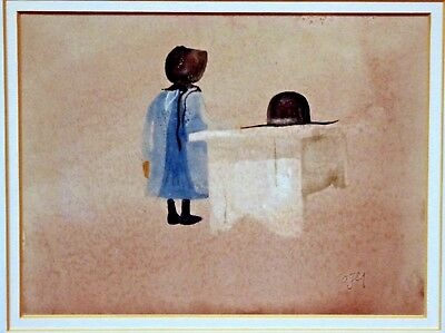 Vintage original watercolor,  Amish Girl, Roger Haas, signed, framed, c1980