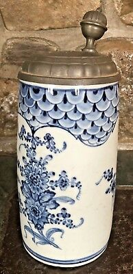 Antique Late 1700's / Early 1800's Blueing Porcelain Large Lidded Stein EXC!