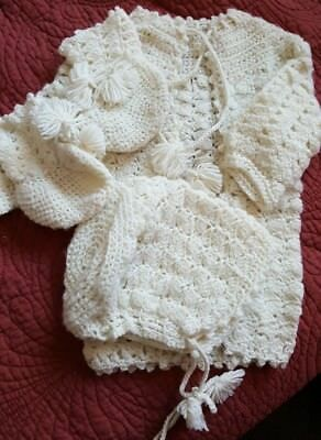 Hand crocheted baby sweater,bonnet and booties
