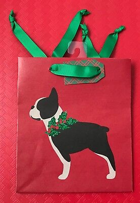 Boston Terrier Dog w/sparkle holly collar Christmas Gift Bag