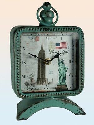 Vintage Look Tischuhr New York Uhr Kaminuhr Retro Shabby used USA Amerika