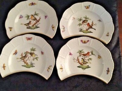 Four Herend Hungary Rothschild Bird Crescent Salad/Side Plates Excellent NR