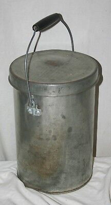 Vintage Galvanized Tall Metal Milk Or Ice Cream Pail With Lid