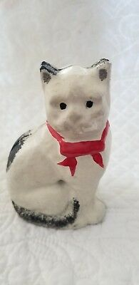 Vtg Grey Iron Casting White Cat With Bow Tie Cast Iron Still Bank EXC Condition