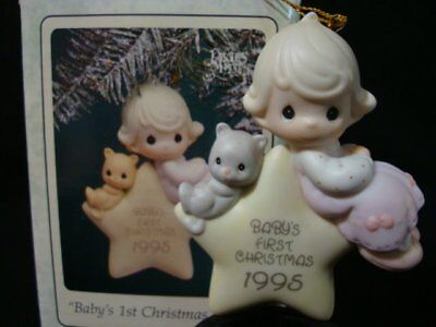 Precious Moments Christmas Ornament-1995 Baby's 1'ST Girl-Limited Edition 1995
